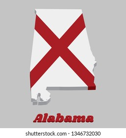 3D Map outline and flag of Alabama, The states of America,  Red St. Andrew's saltire in a field of white. With text Alabama.