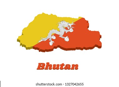3D Map outline and flag of Bhutan, triangle yellow and orange, with a white dragon holding four jewels in its claws centered. with text Bhutan.