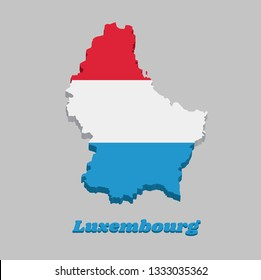 3D Map outline and flag of Luxembourg, it is a horizontal triband of red white and light blue, with name text Luxembourg.