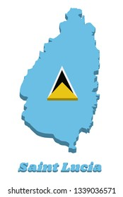 3d Map outline and flag of Saint Lucia. A light blue field with the small golden triangle behind the large white-edged black isosceles triangle in center. with name text Saint Lucia.