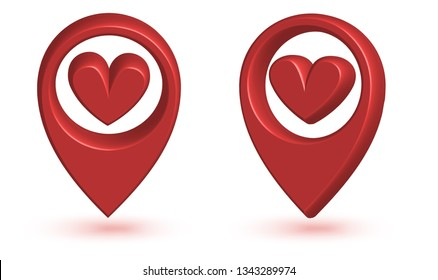3d Map pointer with heart icon. Map Markers. love location icon concept. Location pin with heart. Vector illustration