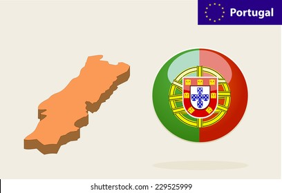 3D Map of Portugal. Vector - Portugal Flag Glossy Button