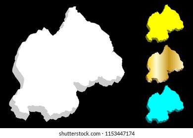 3D map of Rwanda (Republic of Rwanda) -  white, yellow, blue and gold - vector illustration