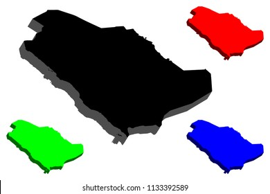 3D map of Saudi Arabia (Kingdom of Saudi Arabia, KSA) -  black, red, blue and green - vector illustration