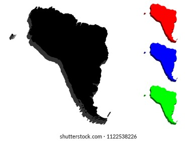 3D map of South America continent - black, red, blue and green - vector illustration