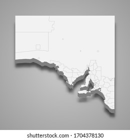 3d map of South Australia is a state of Australia