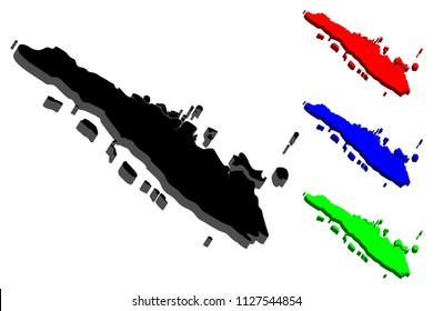 3D map of Sumatra - black, red, blue and green - vector illustration