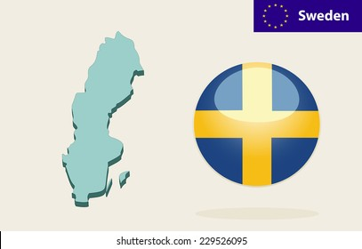 3D Map of Sweden. Vector - Sweden Flag Glossy Button