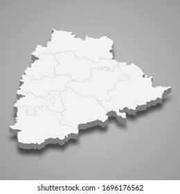 3d map of Telangana is a state of India