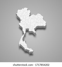 3d map of Thailand with borders of regions