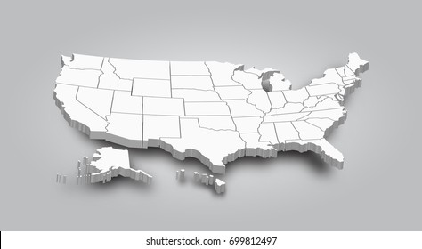 美國美國的 3D 地圖。