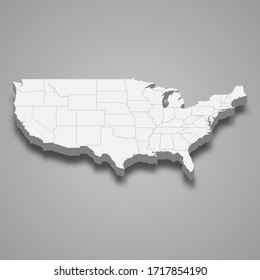3d map of United States with borders of regions