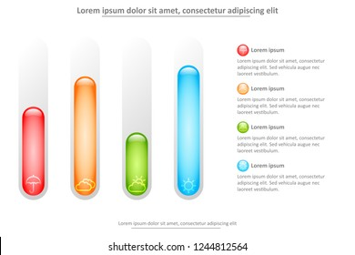 3D marble tube with colorful level for website presentation cover poster vector design infographic illustration concept