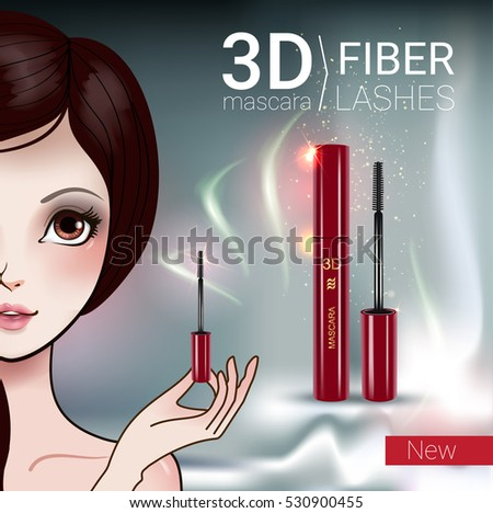 f2312250d0b 3 D Mascara Ads Vector Illustration Manga Stock Vector (Royalty Free ...