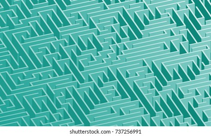 3d maze viewed from above in Teal from the Material Design palette