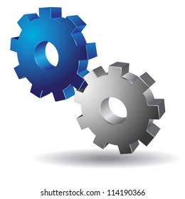 3D Mechanical Gear Vector Icon