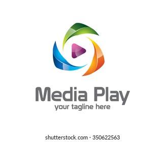 3D media play logo design. Colorful  3D media play logo vector template. Media play concept with 3D style design vector.