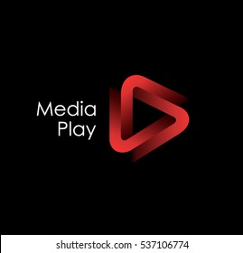 3D media play logo design.