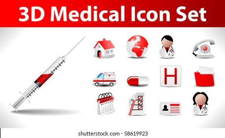 3d medical icon set