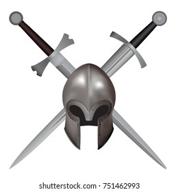 3d medieval Italian closed helmet. Helmet without visor on the background of 2 crossed medieval swords