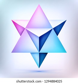3d Merkaba, esoteric crystal, sacral geometry shape, volume star, mesh form, abstract vector object