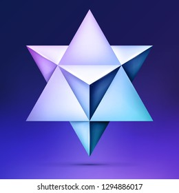 3d Merkaba, esoteric crystal, sacral geometry shape, volume star on dark background, mesh form, abstract vector object