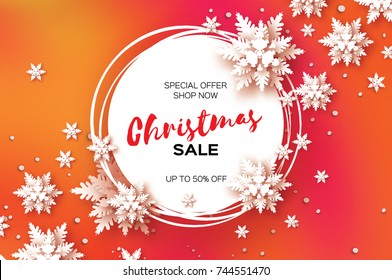 3D Merry Christmas Big Sale for Promotion. 50 . Buy now. Paper cut Snowflakes banner. Origami Decorations. Snowy winter season. Happy New Year. Circle Frame. Text. Snowfall. Red . Vector