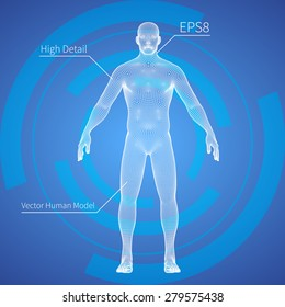 3D Mesh human body medical scan on a blue background, high detail