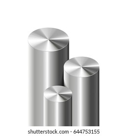 3D metal cylinders on white background. Vector illustration