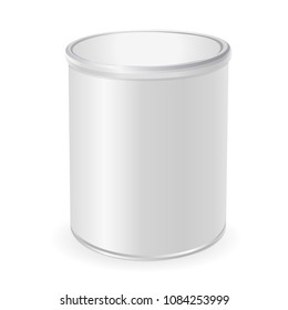 3D metal jar for coffee, baby food. Cylinder of for baby powder milk, cereal etc. Jar mock-up. Isolated on white background. Vector Illustration