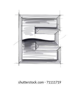3d metal letters sketch - E. Eps10