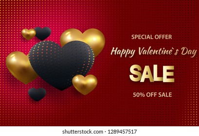 3d metallic gold and red hearts on a bright red background. Decorative love concept for valentines day or wedding. Sale banner. Place for your text. Vector