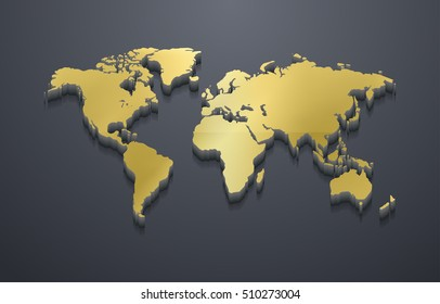 3D Metallic Golden World Map (EPS10 Vector)