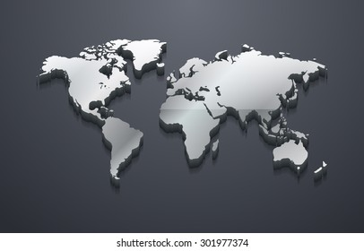 3D Metallic Silver World Map (EPS10 Vector)