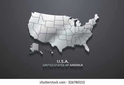 3D Metallic United States Map