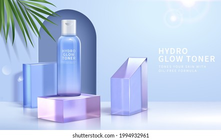 3d minimal cosmetic ad for summer skincare products. Toner bottle mockup with arch door and blue crystal glass cubes.