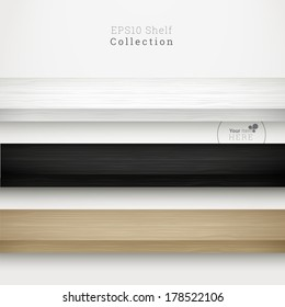 3d minimal empty vector wood shelf collection for online exhibit, web page banner, presentation - white, black and birch color version