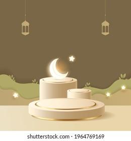 3d Minimal Islamic Podium for Ramadan Banner with luminous crescent, stars, traditional lamp, lantern. Earthy pastel color