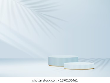 3d minimal scene abstract with leaf geometric blue platform.3d background scene render with podium. Cylinder to show cosmetic product minimal. Stage abstract on pedestal shapes 3d studio blue minimal - Shutterstock ID 1870136461