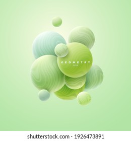 3d mint green spheres cluster. Abstract background. Vector illustration of soft bubbles textured with wavy striped pattern. Banner or sign design