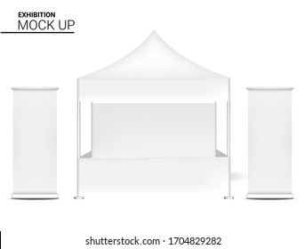 3D Mock up Realistic Booth Display POP for Shop Sale Marketing Promotion Exhibition with Roll up Banner Template Background Illustration