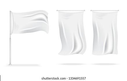 3D Mock up Realistic Flag Display for Sale Marketing Promotion Exhibition Background Illustration