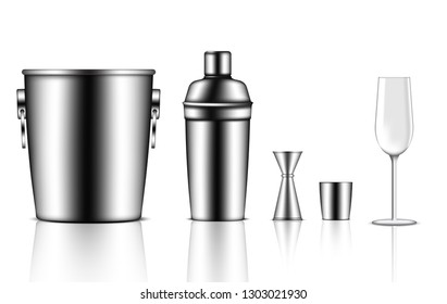3D Mock up Realistic Metallic Shaker Bottle, Ice Bucket, Jigger and Wine Glass For Cocktail Alcohol Party event isolated Background.