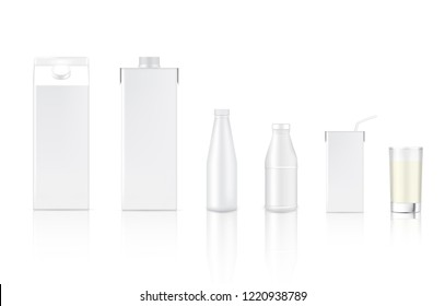3D Mock up Realistic Milk Bottle, Carton Pack Box and Glass for food and Drink product packaging Background.