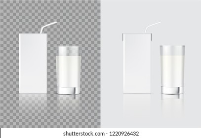 3D Mock up Realistic Milk Carton Pack Box and Glass for food and Drink product packaging isolated Background.