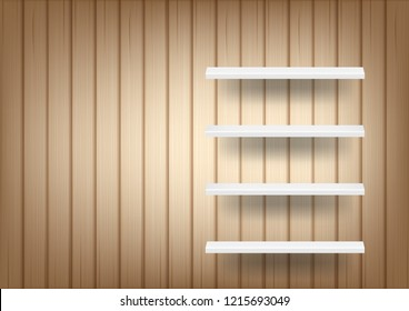 3D Mock up Realistic Wood Background and Empty Shelf for interior to Show Product with light and shadow illustration