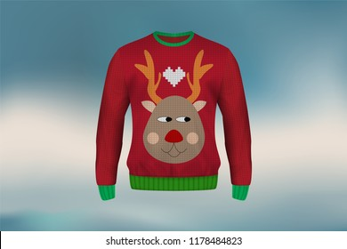3D mockup of Christmas sweater or jumper in heart design, concept for apparel in Christmas and new year holiday season in vector illustration. It also can be used for mockup of clothes in winter