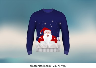 3D mockup of Christmas sweater or jumper in Santa Claus design, concept for apparel in Christmas and new year holiday season in vector illustration