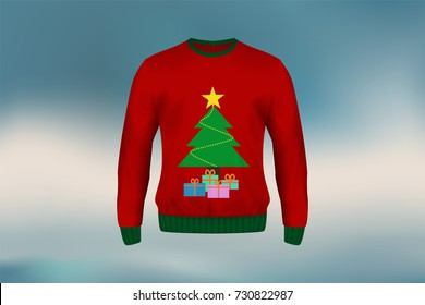 3D mockup of Christmas sweater or jumper in Christmas tree and gift box design, concept for apparel in Christmas and new year holiday season in vector illustration