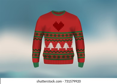3D mockup of Christmas sweater or jumper in vintage design, concept for apparel in Christmas and new year holiday season in vector illustration